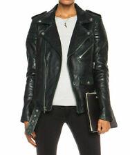 Noora Women Lambskin Leather Jacket Black Slim Fit Biker Motorcycle Jacket QD87