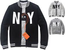 Mens Slim Fit NY Baseball Jumper Blouson Jacket Blazer Outwear Top W015 - S/M