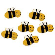 6 Boutons en bois abeilles - rouge vert menthe orange rose vert violet ou jaune