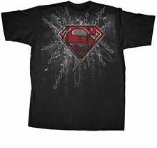 Superman Super Steel Red Foil Print Black Adult T-shirt
