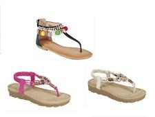 Girls beads flats fringe sandals shoes gladiator toddler & youth