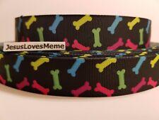 "Grosgrain Ribbon Multi Color Dog Bones Dogs Puppies Animal Rescue Collar, 7/8"""