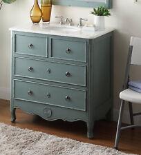 """Benton Collection Daleville Vintage Blue Bathroom Vanity & Mirror HF081Y 34"""""""