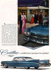 Blue Cadillac Fleetwood NIGHT AT THE WALDORF ASTORIA Furs by Revillon 1959 Ad