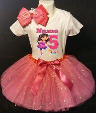 Dora the Explorer --With NAME-- 5th Birthday Dress shirt 2pc fuchsia Tutu outfit
