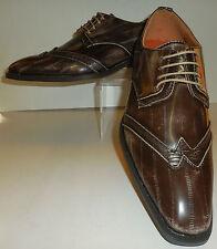 Mens Brown Taupe Distressed Vintage Look Dress Shoes Antonio Cerrelli 6533
