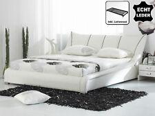 Diseñador Piel Natural Cama Color Blanco de con Listón Marco Cuero tapizada