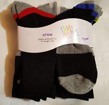 Boys New Set of 6 Crew Socks: (Sock Sz-7-8.5)--(Sock Sz-9-11)