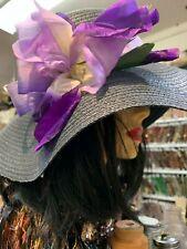 "Vintage Iris Flower Hand Painted on Silk 7"" Millinery German Democratic Republic"
