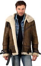 Mens Vintage Brown B3 WW2 Shearling Sheepskin Aviator Flying Leather Jacket