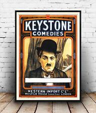 Charlie Chaplin, Keystone, vintage movie poster reproduction de publicité.