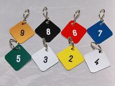 Schlüsselanhänger,Zahlenmarken eckig  mit S-Haken oder Ring,10 Stück inkl.Gravur