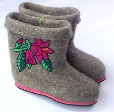 100% Eco Wool Felt Handmade Embroidery Custom Winter Boots Shoes Valenki size 7