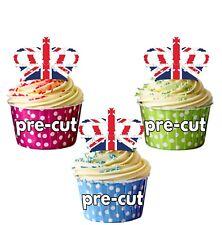 PRECUT Union Jack Crown Cupcake Toppers Cake Decorations London Royal Wedding