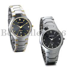 Mens Luxury Tungsten Carbide Rhinestone Calendar Date Dial Quartz Wrist Watch