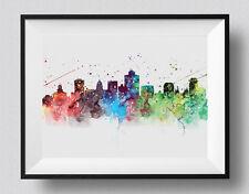 Salt Lake City Skyline Watercolor print Utah Print Dorm Room Poster Travel Decor