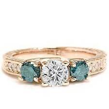 1ct Vintage Blue & White Diamond 3-Stone Engagement Ring 14K Rose Gold