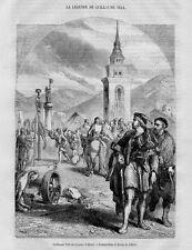Stampa antica ALTORF Guglielmo Tell in piazza 1871 Ancienne Gravure Old Print