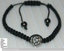 Bracelet STYLE SHAMBALLA NOIR 1  hématite Boule DISCO & macramé NEUF