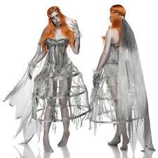 Zombiekostüm Kostüm Damen Halloween Braut 5 tlg. Karneval Fasching Grau 36-40