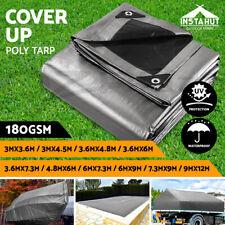 Instahut Tarpaulin Tarp Canvas Camping Poly Tarps Heavy Duty Cover 180gsm Silver