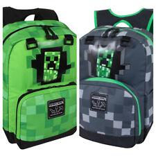 "New JINX Minecraft Creeper Full Size Backpack 17"" Green / Grey"