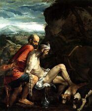 THE GOOD SAMARITAN HELPING WAYFARER ROBBED AND ILL PAINT BY JACOPO BASSANO REPRO