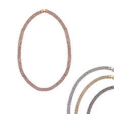 14K Gold, Rose, Black Rhodium, or Rhodium Plated Crystal Three Row Necklace