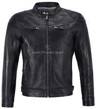 Chaqueta para hombre de cuero negro 100% Real Napa Estilo Motero chaqueta corta longitud BS-1469
