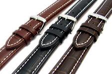 CONDOR Padded Crocodile Grain Calf Leather Watch Strap White Stitching 337R