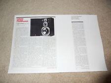 Yamaha NS-2000 Speaker Review, 2 pg, 1984, Info, Test