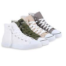 Damen Sneaker High Schnürschuhe Turnschuhe Freizeit Schuhe 821111 Trendy Neu