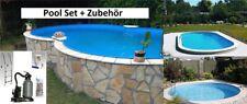 Pool Komplettset Stahlwand Folie 0,8 mm blau Swimmingpool Stahlmantel + Zubehör