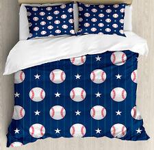 Sports Duvet Cover Set with Pillow Shams Baseball Artsy Stripes Print