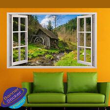 Casa de madera al río bosque 3D Ventana Decoración Habitación Pared Adhesivo Calcomanía Mural YJ4