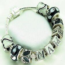 Girls Personalised Jewellery Black Bracelet ANY NAME Birthday Gifts FREEPOST