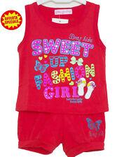 COMPLETO COTONE BAMBINA BABY ESTATE CANOTTA + SHORT SWEAT GIRL TG.12/36 MESI