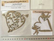 Chipboard HEARTS - 2 - Cupids & Vine Silhouette 11.5x8cm Twiddleybitz MultiList