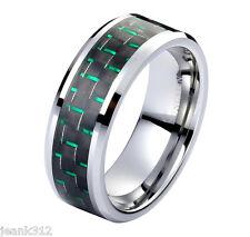 8mm Green Tungsten Carbide Men's Wedding Ring band Black & Green Carbon Fiber