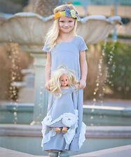 NWT 4EverPrincess USA Girls Dress Matching Doll Dress SET Gray Ava many sizes