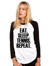 EAT Sleep Tennis ripetere Giocatore di Baseball top base Tee Ball Ragazze Camicia