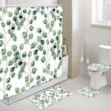 Green vine leaves Shower Curtain Toilet Cover Rugs Bath Mat Contour Rug Set