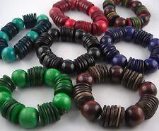 Natur Trend Ethno Holz Armband  Perlen und Scheiben Farbauswahl