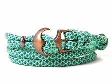 Ancla armband-paracord-verstellbar-wickelarmband-mint & TEAL diamantes