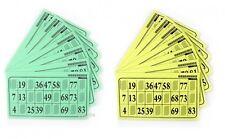 Pack de 125 cartons de loto grilles sur support feuille 80g vert ou jaune 110147