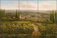 Ceramic Tile Mural Backsplash Ching Tuscan Vineyard Landscape Art CHC096