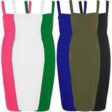 New Womens Flare Wide Square Neck Bodycon Midi Dress 8-22