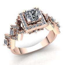 1.5carat Princess Cut Diamond Ladies Halo Solitaire Engagement Ring 18K Gold