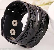 Noir Marron En Cuir Véritable Weave Torsion Bracelet Bracelet Band Bracelet A19-A20