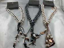 Edles Designer Collier Leder und echte Perlen verflochten Farbwahl
